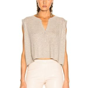 SABLYN SAGE CASHMERE CROP TOP IN TAUPE SZ L
